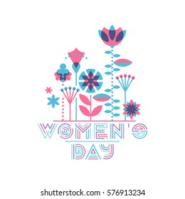 Women's day card, flat floral design. Vector flowers' composition background.