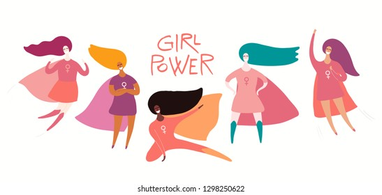 Womens day card, poster, banner, with quote and superhero women. Isolated objects on white background. Hand drawn vector illustration. Flat style design. Concept, element for feminism, girl power.
