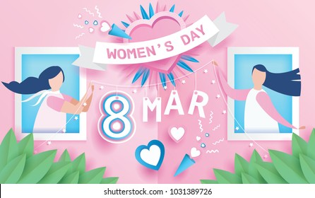 Women's day celebration calendar concept. design for International happy women's day 8 March holiday. and lovely joyful women in windows on pink background. Vector illustration.paper art style.