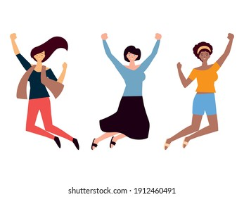 womens day, cheeful group female character celebrating vector illustration