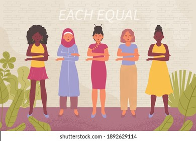 Womens day equality concept with diverse nationality female characters flat vector illustration
