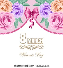Women's day floral card with hand drawn peonies. 8 march. Vector illustration