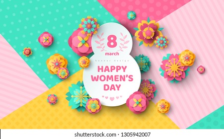 Womens Day greeting card with eight shaped frame and paper cut flowers on colorful modern geometric background. Vector illustration. Place for your text. March 8 holiday.