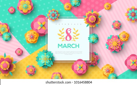 Women's Day greeting card with square frame and paper cut flowers on colorful modern geometric background. Vector illustration. Place for your text.
