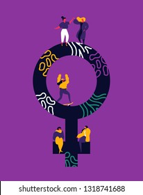 Womens Day illustration of young women doing fun hobby activities. Diverse woman friends talking, skating and dancing inside female symbol.