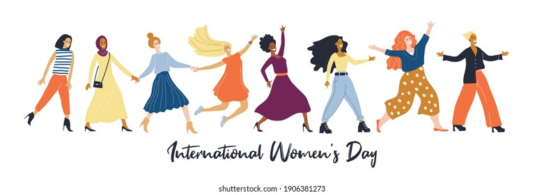 Womens day (IWD) - International  women's rights Day and femininity day. 8 March. Different nationalities. Set of vector illustrations for greeting card, banner. Minimal trendy woman. Multicultural.