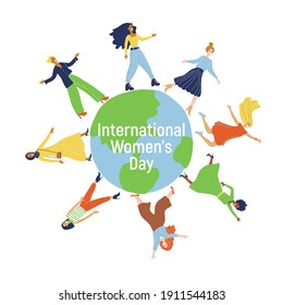 Womens day (IWD) - International  women's rights Day and femininity day. 8 March. Different nationalities. Minimal trendy illustrations for greeting card, banner. Multicultural girls are on the globe.
