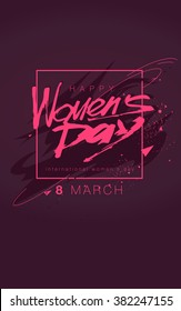 Womens day. lettering March 8 in pink color. Flat hipster graphic of poster, banner. Vector