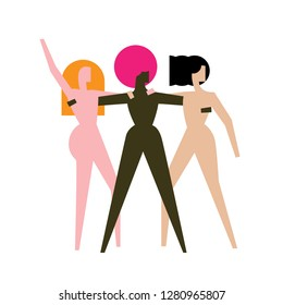 Women`s day logo concept. Poster or card about sisterhood, feminism and love between women