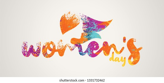 Women's Day Logo Design. Woman Head. Title with Colorful Elements Saying Women's Day.