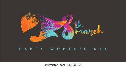 Women's Day Logo Design. Woman Head. Title with Colorful Elements Saying 8th March, Happy Women's Day.
