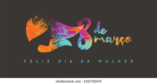 Women's Day Logo Design. Woman Head. Title with Colorful Elements Saying 8th March, Happy Women's Day in Portuguese Brazilian.