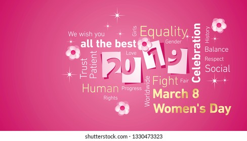 Womens Day New Year 2019 pink flowers negative space word cloud text vector
