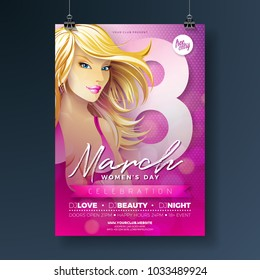 Womens Day Party Flyer Illustration with Sexy Blondie Girl and 8 March Typography on Pink Background. International Female Holiday Design for Celebration Poster, Banner or Invitation.