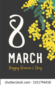 Women's Day postcard or party invitation template with holiday wish written with cursive font, blooming mimosa flowers and green leaves. Elegant floral vector illustration in flat style for 8 March.
