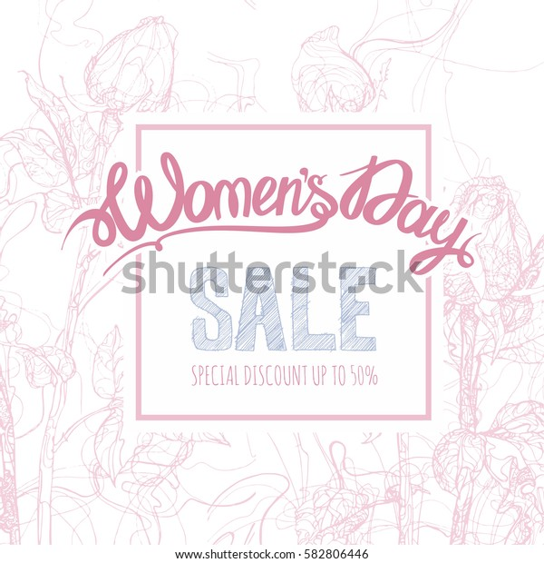 Women's day poster, flyer or invitation design. Vector illustration with floral background