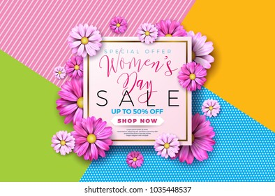 Womens day sale background design with beautiful colorful flower. Vector floral design template for coupon, banner, voucher or promotional poster.