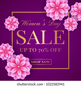 Women's Day sale banner with pink flowers. Flyer template for discounts on 8th of March. Vector illustration.