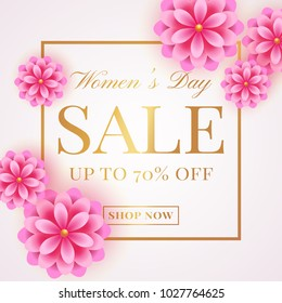 Women's Day sale banner with pink flowers on white background. Flyer template for discounts on 8th of March. Vector illustration.