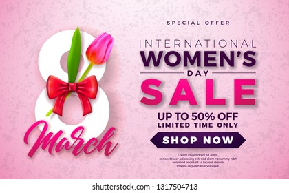 Womens Day Sale Design with Beautiful Colorful Flower on Pink Background. Vector Floral Illustration Template for Coupon, Banner, Voucher or Promotional Poster.
