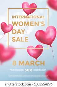 Women's day sale poster banner of red heart balloons in light shine on blue background. Vector Women's day sale golden text for holiday shop discount design template of heart air ballons on 8 March