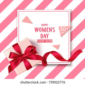 Women's day sale template with discount 50 persent. Decorative gift box with red bow and long ribbon top view. Vector holiday background