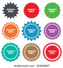 Women's Day sign icon. Holiday symbol. Stars stickers. Certificate emblem labels. Vector