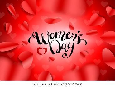 Women's Day, Valentines Day Design Greeting Card lovely background. Shiny Red And Pink Paper Shape Forms Hearts Fly Center Screen. Can be used on banners, web or flyers. Vector illustration. EPS 10.