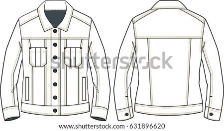 womens denim jacket sketch detail technical stock vector