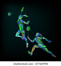 Womens doubles badminton players. Color vector illustration
