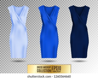 Women's dress mockup collection. Dress with long pleated skirt. Realistic vector illustration. Fully editable handmade mesh. Festive dress without sleeves. Light, bright and dark blue variation.