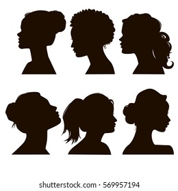 Women's elegant silhouettes with different hairstyles. Beautiful female face in profile. EPS8