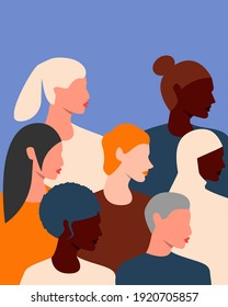 Women's faces of different ethnic groups and cultures. International women's day. 8th march. Womens friendship, solidarity, sisterhood. Women empowerment movement. Eps 10