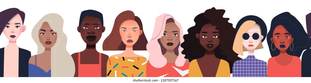 women's faces row line  pattern  different nationalities
