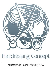Womens faces and scissors abstract hair salon stylist hairdresser concept