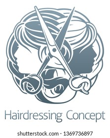 Womens faces and scissors hair salon stylist hairdresser concept