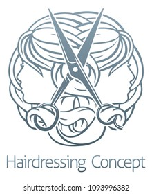 Womens faces and scissors hair stylist salon hairdresser concept