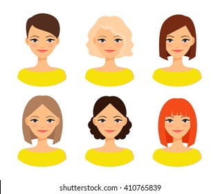 Womens faces. Woman with different hair color and different hairstyles vector illustration