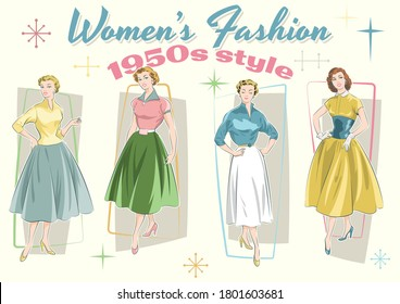 Women's Fashion 1950s Trends Models and Dresses Mid Century Modern Style Sketches