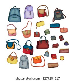 Women's fashion collection of bags and purses. Set with different bags isolated on white.