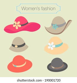 Women's fashion collection of hats - vector illustration