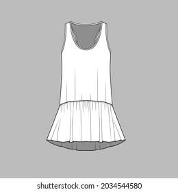 Womens fashion peplum tank top gathering ruffles hem flat sketch drawing template design vector