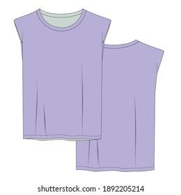 Women's Fashion T-shirt Flat Sketch