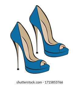 Women's fashionable blue high-heeled shoes. Shoes with an open toe. Design suitable for icons, shoe stores, exhibitions, logos, tattoos, posters, stickers, prints, banners. Isolated vector