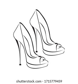 Women's fashionable decorative high-heeled shoes. Open-toed louboutins. Sketch design is suitable for icons, shoe stores, exhibitions, logos, tattoos, posters, stickers, prints. Isolated vector
