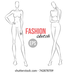Women's figure sketch. Different poses. Template for drawing for designers of clothes. Vector outline girl model template for fashion sketching. Fashion illustration.