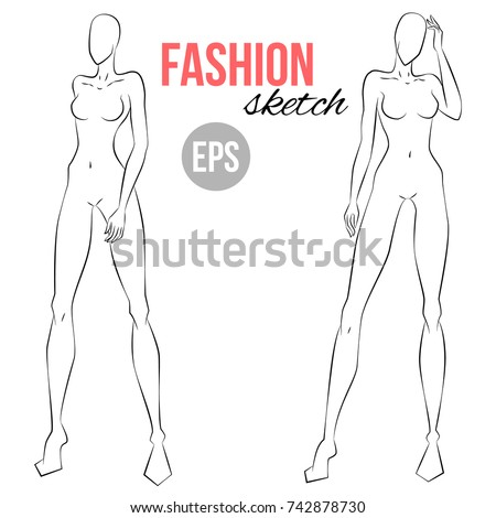 Womens Figure Sketch Different Poses Template Stock Vector (Royalty ...