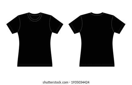Women's Flat Black T-Shirt Template Vector On Gray Background.Front And Back View.
