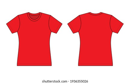 Women's Flat Red T-Shirt Template Vector On Gray Background.Front And Back View.