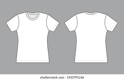 Women's Flat White T-Shirt Template Vector On Gray Background.Front And Back View.
